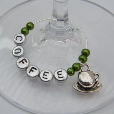Cup & Saucer Personalised Wine Glass Charm